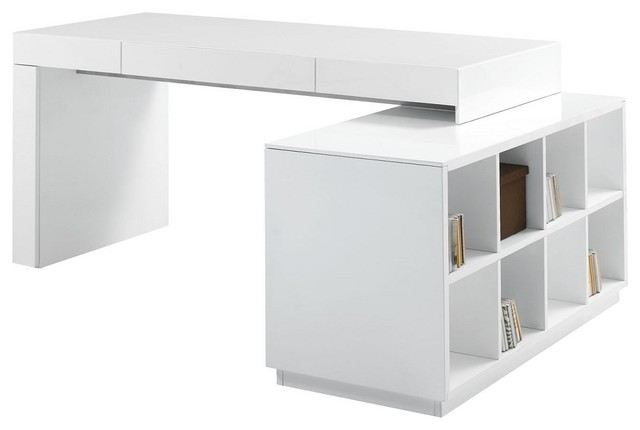 modern office desk in white lacquer finish modern desks and hutches