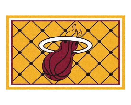Fanmats - NBA Miami Heat Area Rug 5 x 8 Basketball Carpet - Features:
