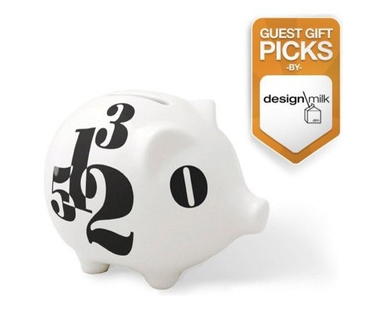 """notNeutral Count Piggy - The Count Piggy by notNeutral is a porcelain bank that features one hole on top to keep your change safe. No hole on the bottom to ensure """"saving""""."""