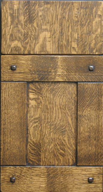 Quarter Sawn White Oak Shaker Cabinet Door with Custom Pegs - Rustic - Kitchen Cabinets - other ...