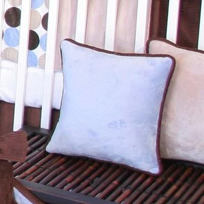 Brandee Danielle Minky Blue Chocolate Polka Dot Blue Decorative Pillow modern-nursery-decor