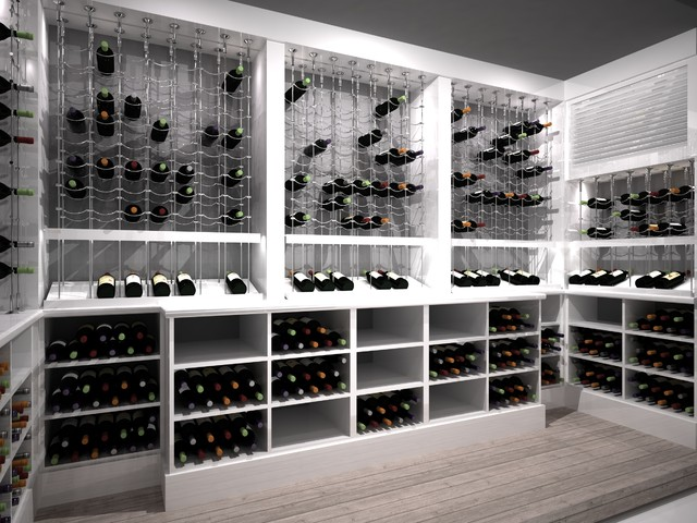 Custom Wine Cellar featuring the Cable Wine System contemporary-rendering
