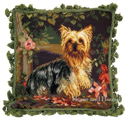 Yorkshire Terrier Needlepoint Pillow, Pillows traditional-decorative-pillows