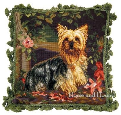 Yorkshire Terrier Needlepoint Pillow, Pillows traditional-decorative-pillows