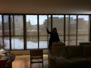 Sliding Solar Screen Panels For A 21 Ft Floor To Ceiling