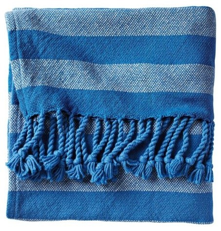 Cobalt Awning Stripe Throw traditional-throws