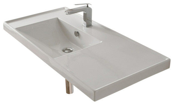 Wall Mount Sink No Faucet Hole : ... Wall Mounted Bathroom Sink, No Hole - Contemporary - Bathroom Sinks