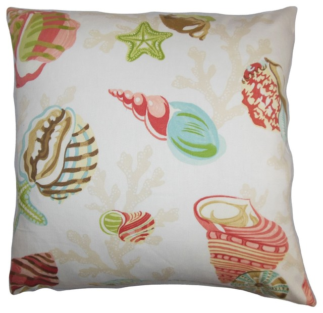 Coastal Inspired Throw Pillows : Tait Coastal Pillow Pink Green - Beach Style - Decorative Pillows - by The Pillow Collection Inc.