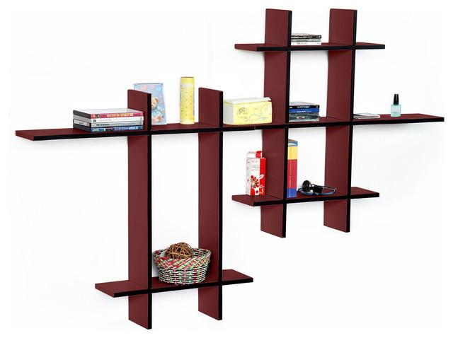 [Blazing Fire-MEGA]Leather Cross Type Shelf / Bookshelf / Floating Shelf (9 pcs) contemporary-wall-shelves