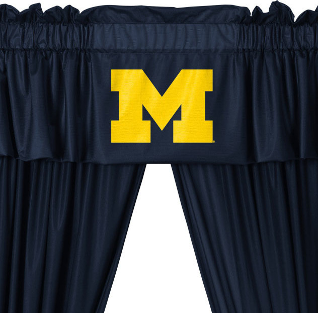NCAA Michigan Wolverines College 5-Piece Valance-Curtains Set modern