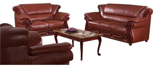 7981 Brown Bonded Leather Three Piece Sofa Set With Walnut Finish Wood Trim traditional-sofas