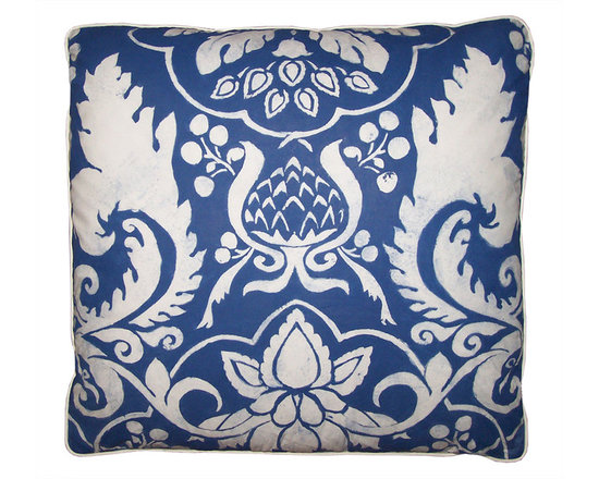 Pillow ~ Blue and White Hand Painted Pillow - High-end Custom and Ready made pillows available on-line. This Blue and White Hand Painted Pillow Done on Fine Weave White Cotton Cambric, has a Crisp, Chintz Like Quality.  The Pillow Back has also been Hand Painted in Blue. Carol Tate Original Pillow with down and Feather Insert. Couture Custom Workroom Services Available. Artisanaworks