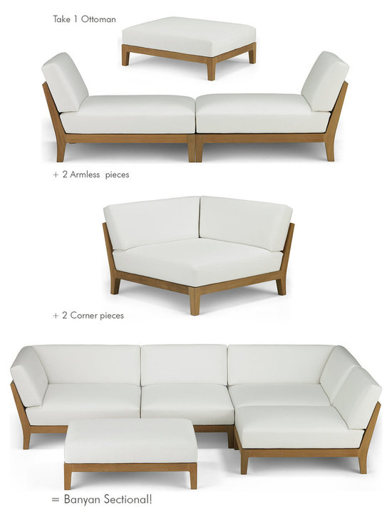 Banyan Sectional Composition - Influenced by the power and romance of the Banyan tree's epiphyte nature to spread its roots and bear fruit, Link Outdoor introduces the latest pieces that complete its Banyan Collection, design by Holly Hunt.  Comprising of Corner, Armless and Ottoman seating, all three pieces combine in any number of configurations for lounging, entertaining, or an intimate tête-à-tête.  Seen as a departure from the strong contemporary and youthful lines of recent introductions, Banyan is a deep-seated luxurious collection of plush classical outdoor furniture made for pure comfort - a collection that will transform outdoor spaces into contentment zones for living well.  © Link Outdoor