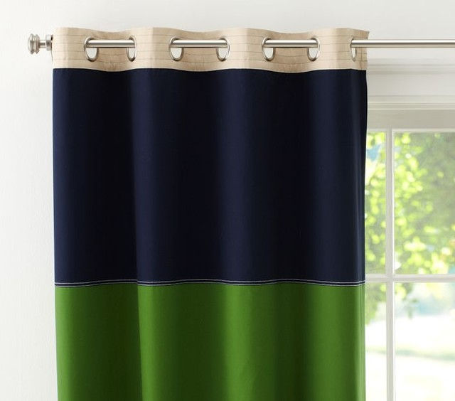 ... Panel, Navy/Green - Contemporary - Curtains - by Pottery Barn Kids