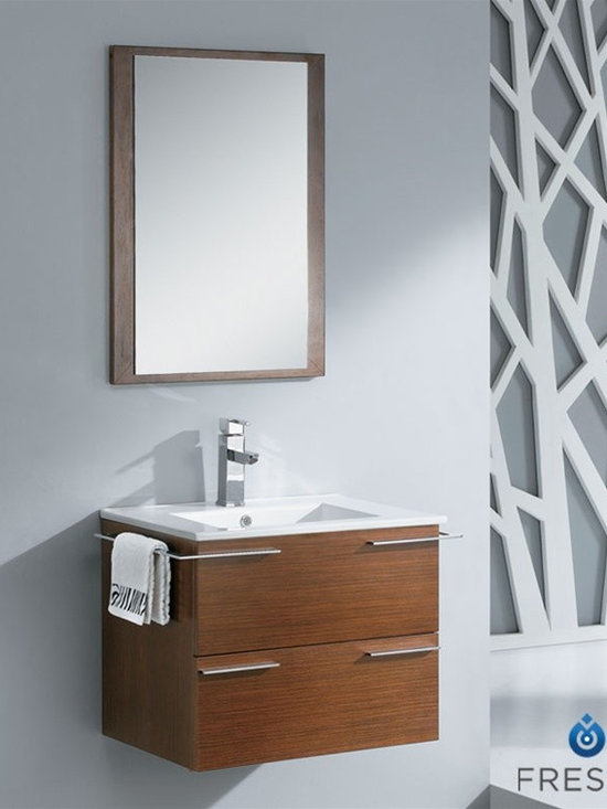 """Fresca Cielo Wenge 24"""" Bathroom Vanity - Fresca Cielo Wenge 24"""" Modern Bathroom Vanity is one of the most compact vanities around. This 24"""" wall mounted vanity model comes with a ceramic sink and matching mirror. Even small towel bars are attached to both sides of the vanity. Spectacular designs are available in Fresca vanities Collection, with choices between glasses or marble top wall mounted vanity, clear glass double bowl vanity, single sink bathroom vanity with frosted glass, and some more."""