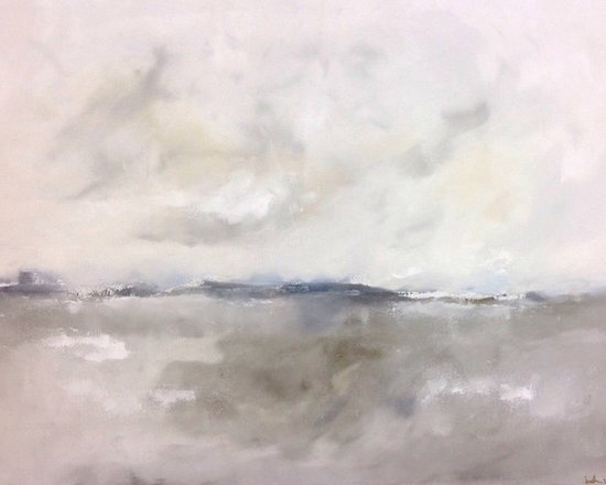 """Linda Donohue Fine Art - Warm Grey Abstract Seascape - Driftwood Sea 40 x 30 - Coastal abstract seascape. This is an original acrylic painting on gallery wrapped canvas. It measures 40 x 30 x 1.5""""d. The sides are painted to match the front and it's ready to hang as it is or be out into a frame. This painting is inspired by the San Francisco Bay Area where I live."""