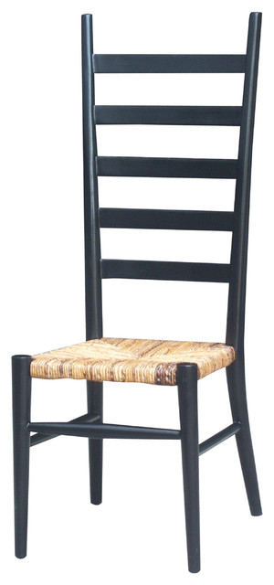 Tall Ladder Back Dining Chair-Black traditional-dining-chairs
