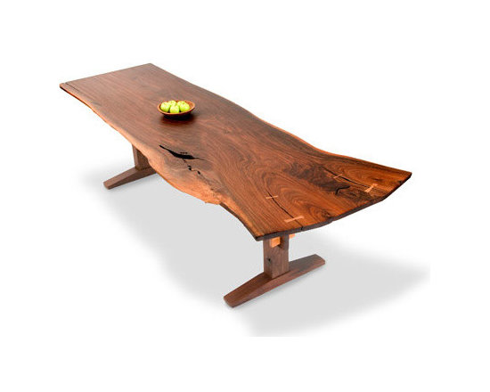 Eco Friendly Furnture and Lighting - Top is made from a single board of Black Walnut, extremely rare for its size and soundness. Features hand cut inlaid Black Walnut keys and spectacular flame graining. Lowder I shown with a trestle base of Black Walnut. Lowder II shown with a trestle of polished aluminum.