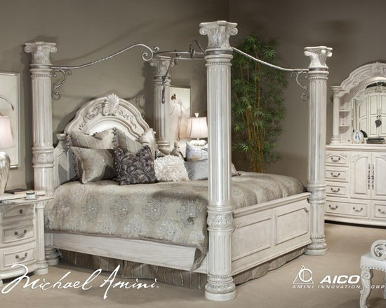 AICO Furniture - Monte Carlo II Poster Bedroom Set in Silver Pearl - N53000QP/N5 - Set Includes Poster Bed (headboard, footboard, rails and wood slats), Nightstand, Dresser and Mirror