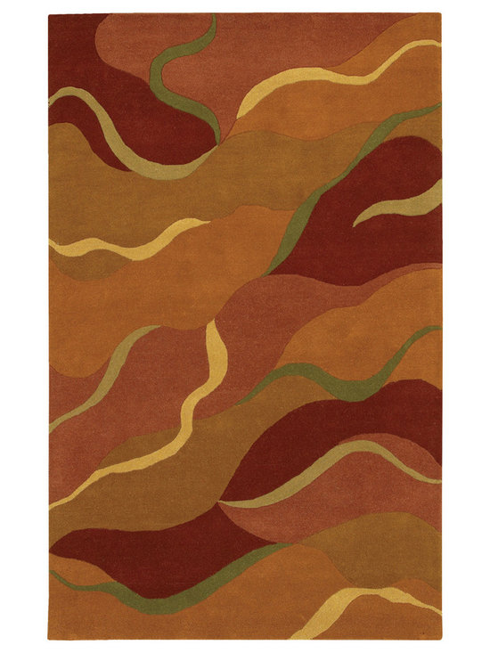 Mandara - Hand-tufted Mandara Modern Wool Rug (5' x 7'6) - A colorful modern pattern highlights this Mandara wool rug. Hand-tufted in India using premium quality wool and features geometric pattern in mix shades of deep orange,brown,yellow,green,burgundy and rust.