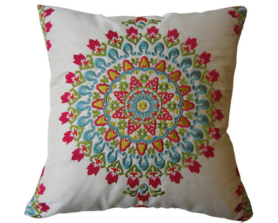 KH Window Fashions, Inc. - Pink, Turquoise, Gold & Lime Exquisite Embroidered Pillow, With Insert - This exquisite embroidered medallion pillow belongs on any sofa or bed. The back of the pillow is made of a solid ivory coordinating fabric.