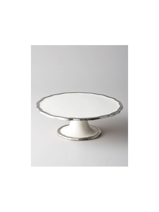 "Horchow - Deville Dessert Pedestal - A gently scalloped, reeded rim surrounding the serving plate and pedestal foot adds a touch of sophistication to this simple yet elegant dessert pedestal. Made of enamel edged with distressed aluminum. Hand wash. 12""Dia. x 4.25""T. Imported."