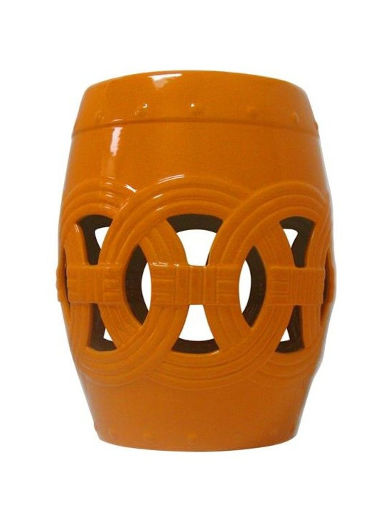 Belle & June - Orange Circle of Life Garden Stool - This Circle of Life orange garden stool will add depth, unique style and a fabulous pop of color to any room in your home. It features a traditional Chinese design that can be used as a decorative accent for indoors or outdoors. This orange garden stool is perfect as a side table or outdoor patio accessory. Can also be used as a seat or as a stand-alone decorative element. One of our BEST sellers!