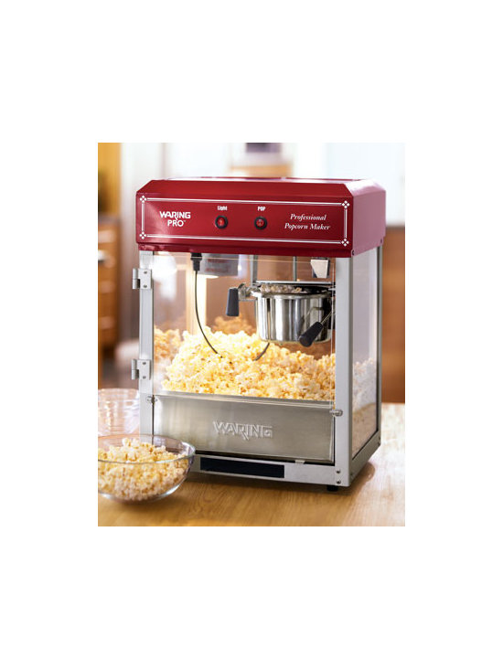 Waring - Waring Popcorn Machine - Fresh popped popcorn can't be beat, and nothing comes close to making it any better than this. Kettle holds six to eight ounces of unpopped kernels and can pop up to 12 cups in under three minutes. Heat lamp keeps popped corn hot until you're ready....
