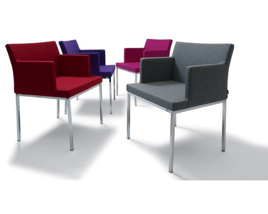 """Soho Chrome Arm Chair by sohoConcept - Soho Chrome is a classy arm chair with a comfortable upholstered seat and backrest on chromed steel legs which are plastic tipped. The seat has a steel structure with """"S"""" shape springs for extra flexibility and strength. This steel frame molded by injecting polyurethane foam. Soho seat is upholstered with a removable velcro enclosed leather, PPM or wool fabric slip cover. The chair is suitable for both residential and commercial use."""
