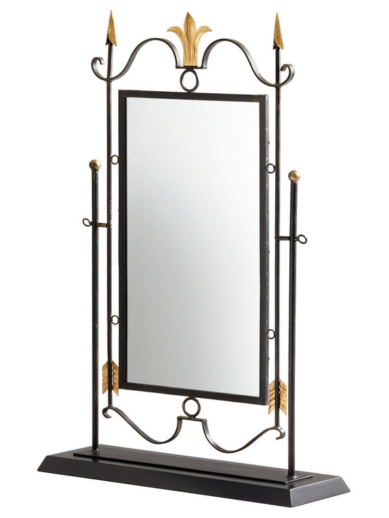 "Cyan Design Shetland Mirror on Stand in Black & Gold Finish - The Cyan Design Shetland Mirror on Stand, with a Black and Gold finish, will add a Transitional style to any home's decor! Composed of Iron Wood and Glass material. Dimensions: 40 1/4"" High, 26"" Wide, 8"" Deep."