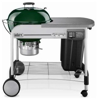 Weber Grill. Performer Platinum 22-1/2 in. Charcoal Grill in Green contemporary-outdoor-grills