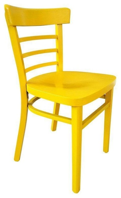 Pre owned vintage cafe chair in yellow farmhouse for Modern yellow dining chairs