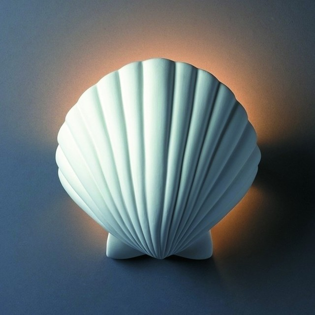 Tropical Bathroom Wall Sconces : Ambiance ADA Scallop Shell Wall Sconce, Bisque - Tropical - Wall Sconces - by ...
