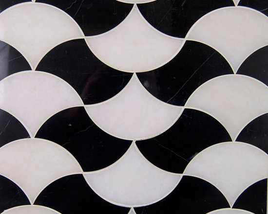 Stone Mosaic - Stock in Trade Collection stone mosaic | Fan Dance pattern shown in Nero Marquina + Thassos