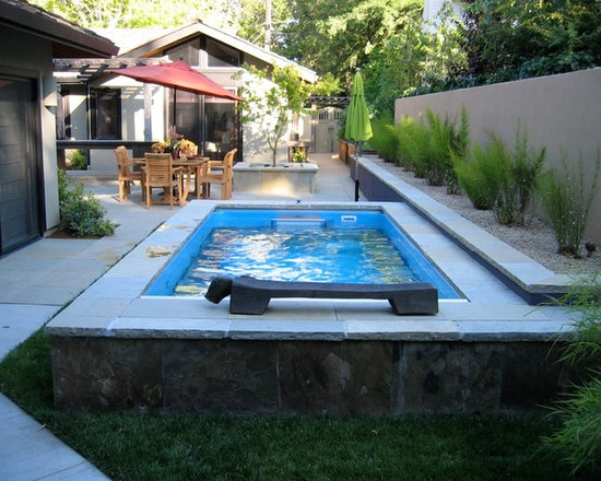 Original Endless Pools® - This Endless Pool brings a splash of depth to an otherwise compact yard. Integrated with the perimeter planter and appointed with contrasting tile and a clever accent sculpture, it combines form and function in one smart, eco-friendly installation.