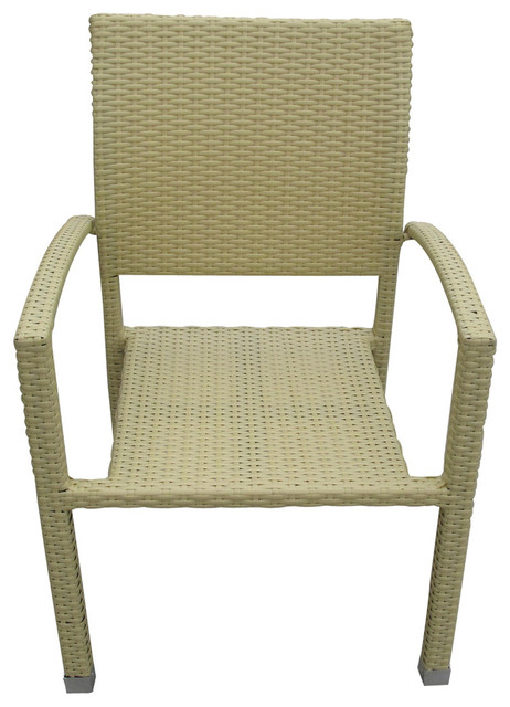 Outdoor Wicker Rattan Dining Chair Tan contemporary-dining-chairs