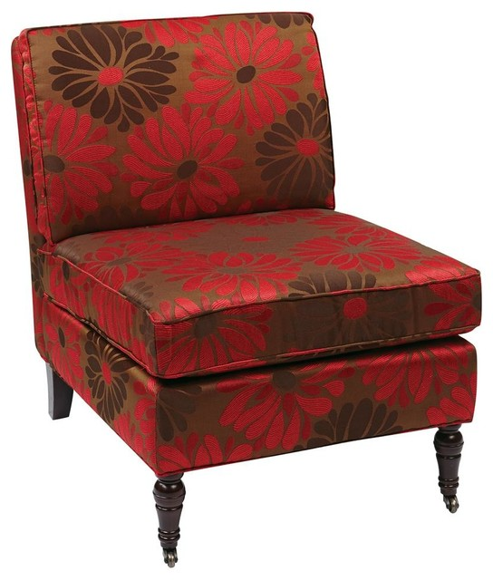 Accent Chair In Red Contemporary Living Room Chairs By IvgStores