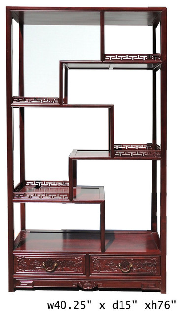 Oriental Rosewood Display Curio Cabinet Divider - Asian ...