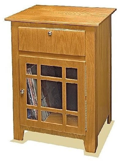 Richmond Wood Turntable Cabinet in Oak Finish with Glass Door & Flip-Down Drawer - Traditional ...