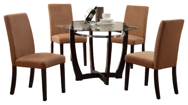 5 pc round glass top dining set chair espresso base