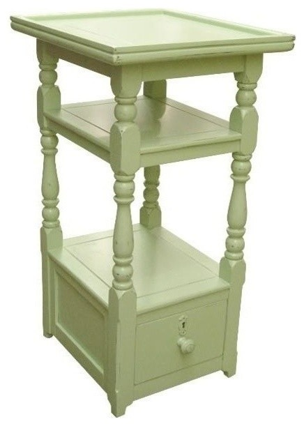 Mirror And Painted Bedside Table: New Nightstand Green Painted Hardwood