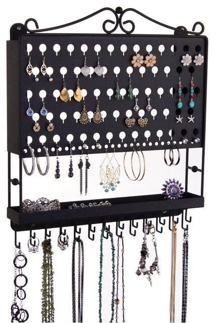 Wall Jewelry Organizer Earring Holder Necklace Rack - Earring Angel transitional-jewelry-boxes ...