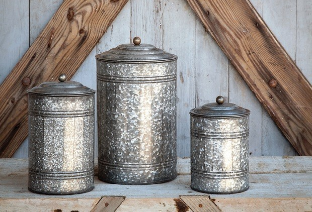 Tall Galvanized Canisters Set Of 3 Farmhouse Kitchen