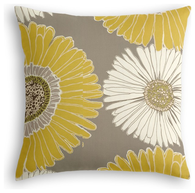 Modern Yellow Decorative Pillows : Yellow & Gray Giant Daisy Custom Throw Pillow - Modern - Decorative Pillows