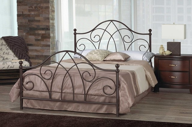 Brittany Scroll Caramel Brown Wrought Iron Queen Bed Frame