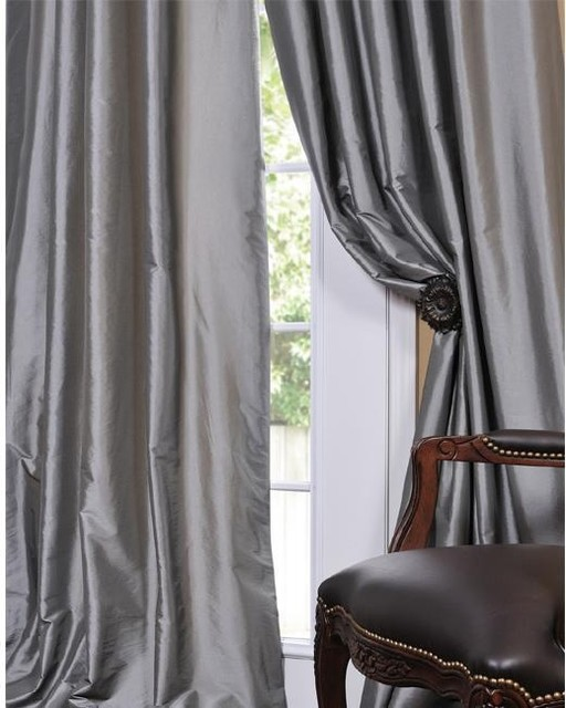 Solid Faux Silk Taffeta Platinum Curtain Panel modern-curtains