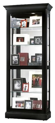 Berends Black Satin Curio Cabinet w Sliding D contemporary-storage-units-and-cabinets