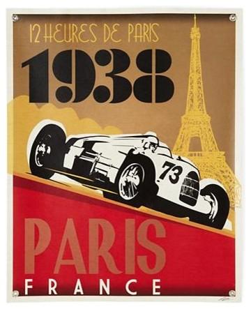 Racecar Banner, Paris modern-prints-and-posters