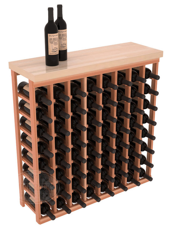 "Wine Racks America - Tasting Table Wine Rack Kit with Butcher Block Top in Redwood, Satin Finish - The quintessential wine cellar bar; this wooden wine rack is a perfect way to create discrete wine storage in shallow areas. Includes a 35"" Butcher Block Top that helps you create an intimate tasting table. We build this rack to our industry leading standards and your satisfaction is guaranteed."