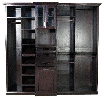 Dark cherry walk in closet unit traditional closet for Walk in closet planner
